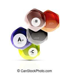 Glass glossy shiny hexagon web elements