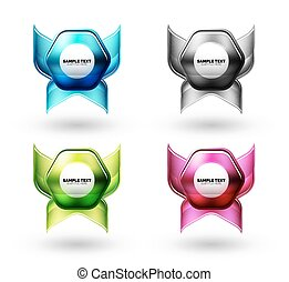 Glass glossy shiny hexagon web elements, futuristic abstract concept