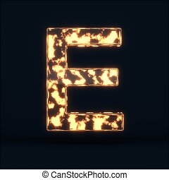 Glass glowing fire letter E symbol