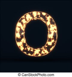 Glass glowing fire letter O symbol