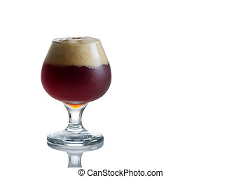 Glass Goblet filled with fresh Dark Beer on White