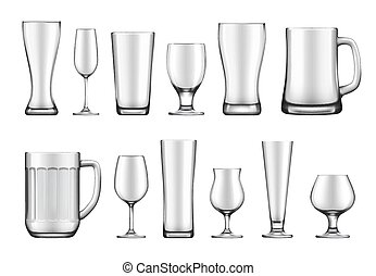Glass goblets, mugs and jars vector set