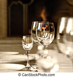 Glass goblets on the table