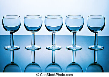goblets - glass goblets on  variegated background