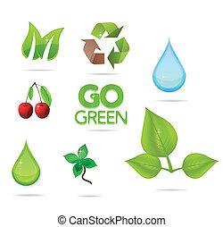 glass green and eco symbols set