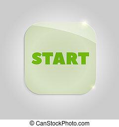Glass green button