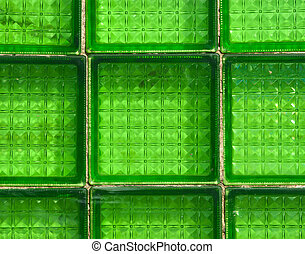 Glass green tile background