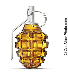 grenade - glass grenade isolated on a white. 3d illustration