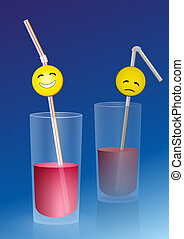 Half full glass with a happy smiley on a straw, and a half empty glass with a sad smiley, a metaphor for positive and negative thinking. Vector illustration on blue gradient background.
