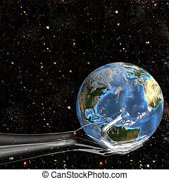Glass Hand Holds Earth in Space