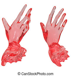 glass hands isolated on a white background