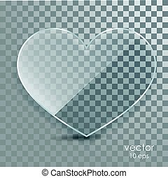 Glass heart on a transparent background