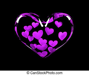 glass heart with 14 violet hearts inside symbolizing...