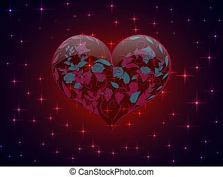 Glass heart with pattern in the form of interwoven branches of roses on a background of bright stars