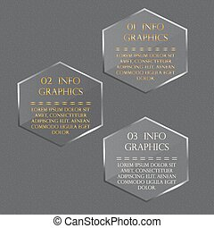 Glass hexagon in a honeycomb. Vector illustration infographics.