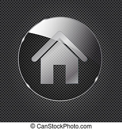Glass home button icon on metal background. Vector illustration