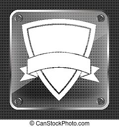 Glass  icon of shield with vector ribbon on a metallic backgroun