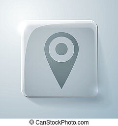 Glass icon, pin location on the map