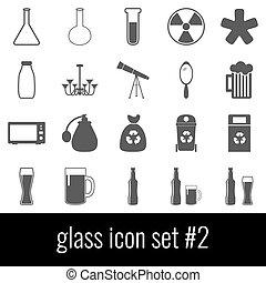 Glass. Icon set 2. Gray icons on white background.