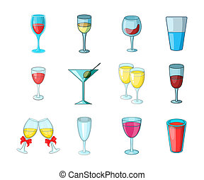 Glass icon set, cartoon style