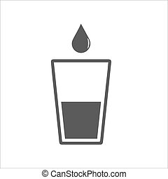 glass icon with a drop of liquid on a white background