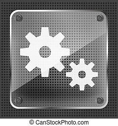 glass icon with gear on metallic background