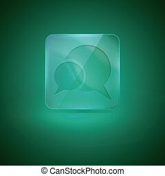 glass icon with speech bubbles