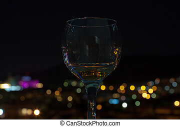 glass in front of defocused lights