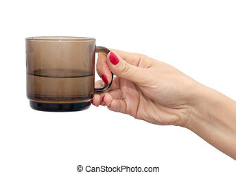glass in his hand on a white background