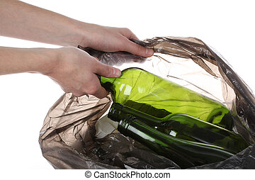 Glass in plastic bag - Putting glass bottles in a plastic...