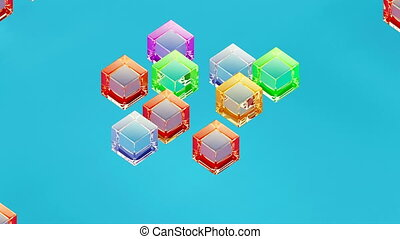 Glass isometric block assembly 3d minimal motion design simple geometric forms