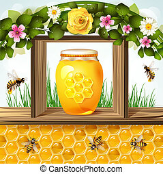 Glass jar and honey