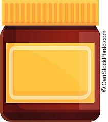 Glass jar chocolate paste icon. Cartoon of glass jar chocolate paste vector icon for web design isolated on white background