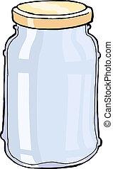 glass jar - hand drawn, vector, sketch illustration of jar