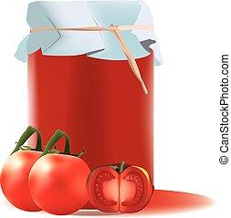 glass jar containing sterilized tomato juice