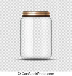 Glass Jar for canning and conservation. Vector empty jar design template with cover or lid on transparent