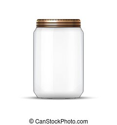 Glass Jar for canning and conservation. Vector empty jar design template with cover or lid