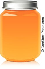 Glass Jar For Honey, Jam, Jelly or Baby Food Puree Mock Up Template