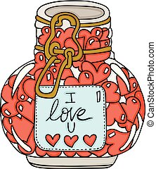 Glass jar full of heart shapes