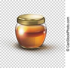 Glass jar full of honey vector