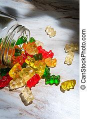 Glass Jar Gummy Bears - Assorted flavors of gummy bear ...