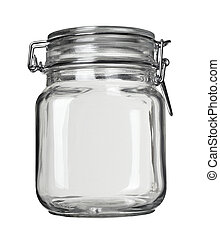 glass jar kitchen dish - close up of jar on white background...
