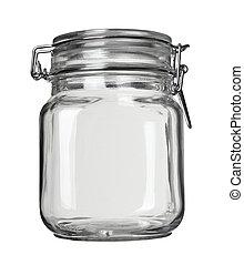 close up of jar on white background