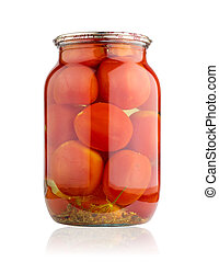 Glass jar of canned tomatoes