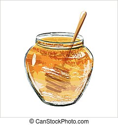 Glass jar of honey with wooden dipper. Watercolor scetch....