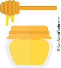 Glass jar of honey with wooden drizzler isolated on white background sweet food vector.