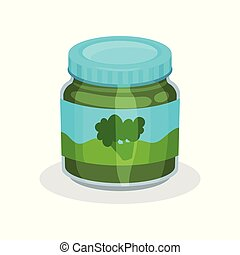 Glass jar of natural baby food. Vegetable puree from organic broccoli. Healthy meal for kids. Flat vector icon