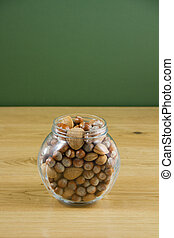 Glass jar of nuts