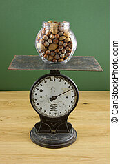 Glass jar of nuts on scale