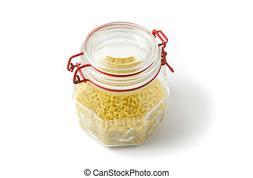 Glass jar of pasta